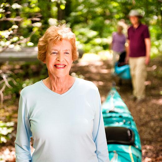 senior citizen going canoeing